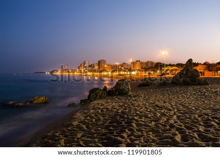 Platja d'Aro beach night photography, a well known tourist destination (Costa Brava, Catalonia, Spain)