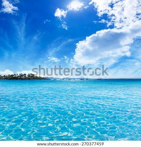 Platja de Alcudia beach in Mallorca Majorca at Balearic islands of Spain - stock photo