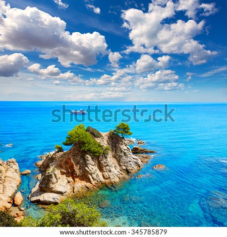 Platja Fenals Fanals Beach in Lloret de Mar at Costa Brava of Catalonia Girona Spain - stock photo