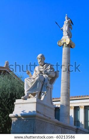 Plato and Athena statues in Greece - stock photo