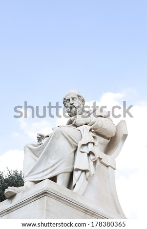 Plato,Classical Greek philosopher. Statue at Athens Academy - stock photo