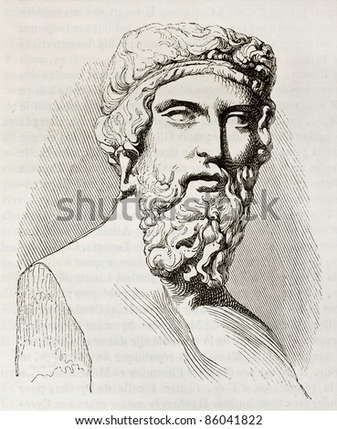 Plato, the famous, classical Greek philosopher, bust kept in Louvre museum. By unidentified author, published on Magasin Pittoresque, Paris, 1842 - stock photo