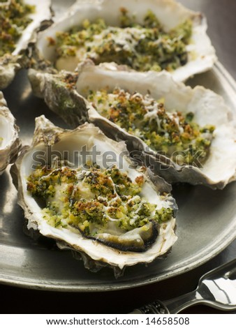 Platter of Oysters Rockefeller - stock photo