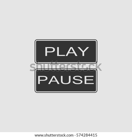 Play and pause button icon flat. Simple black pictogram on grey background. Illustration symbol