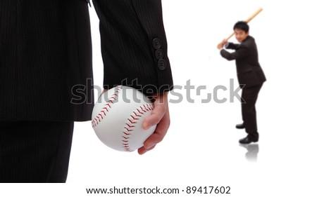 Play Ball ! Business man take baseball ready to pitching - stock photo