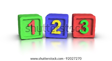 Play Block: 123 - stock photo