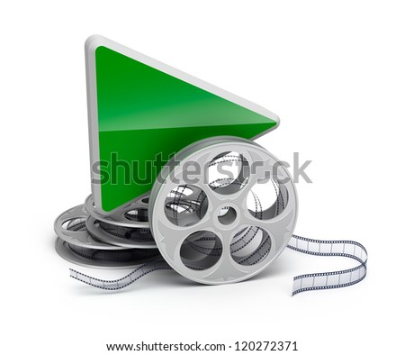 Play button and movie reel. isolatd 3D icon - stock photo