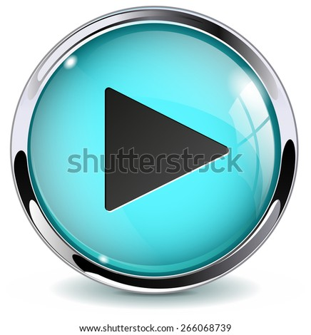 Play button. Glossy icon with metallic frame. Isolated on white background. Raster version - stock photo