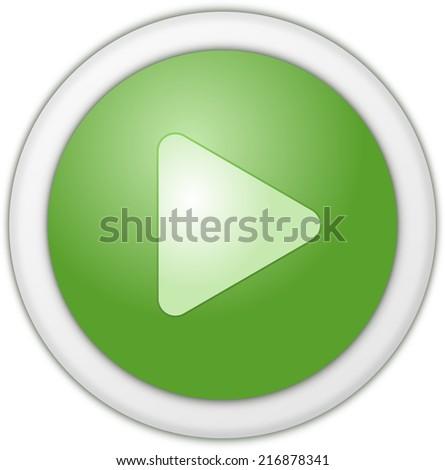 Play button green matt circle - stock photo