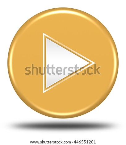 Play button isolated on white background. 3d render