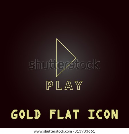 Play button. Outline gold flat pictogram on dark background with simple text. Illustration trend icon
