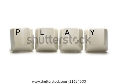 Play - computer keys, isolated on white