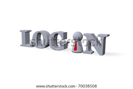play figure with tie and the word login - 3d illustration