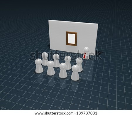 play figures and wound with pictureframe - 3d illustration