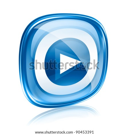Play icon button blue glass, isolated on white background. - stock photo