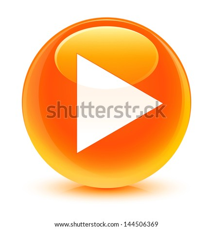 Login Buttons Icons Play Icon Glassy Orange Button