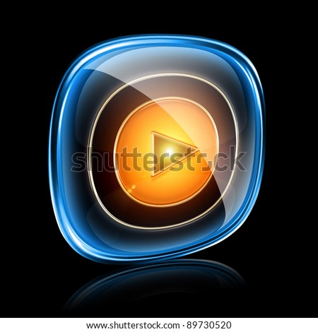 Play icon neon, isolated on black background - stock photo