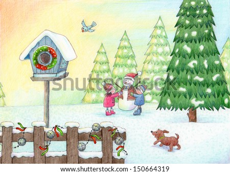 Play In The Snow - Cute illustration of a holiday winter scene. - stock photo