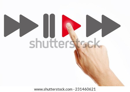 Play, Male hand pressing play button on the virtual screen - stock photo