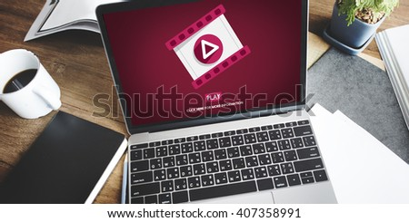 Play Multimedia Social Media Mass Communication Concept - stock photo