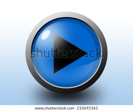 Play sign icon. Glossy blue button.