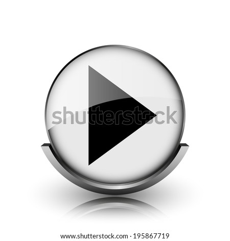 Play sign icon. Shiny glossy internet button on white background.