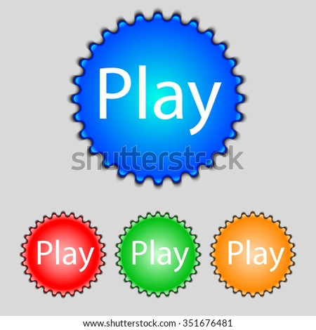 Play sign icon. symbol. Set of colored buttons. illustration