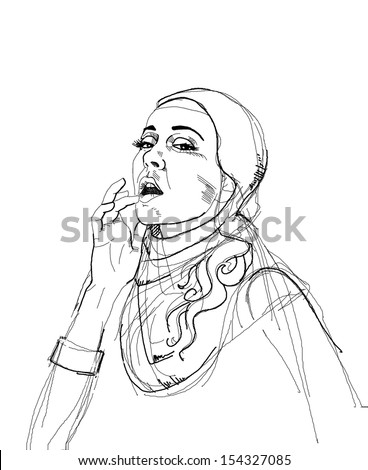Play the Game. Drawing of pretty nun touching her lips. Seductive - stock photo