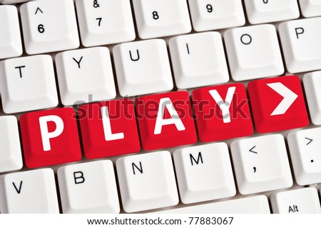 Play word on white keyboard