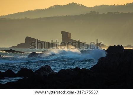 Playa de Campiecho, asturia, spain - stock photo
