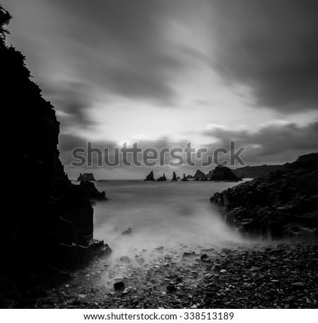 Playa de Gueirua, asturia, spain - stock photo