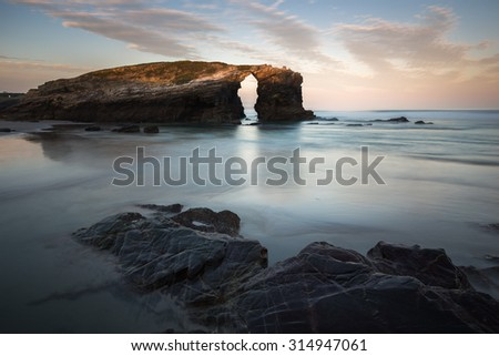 Playa de les catedrales, Spain - stock photo