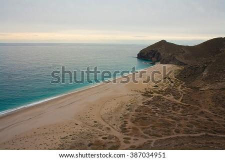 Playa de los Muertos landscape in Almeria, Spain - stock photo
