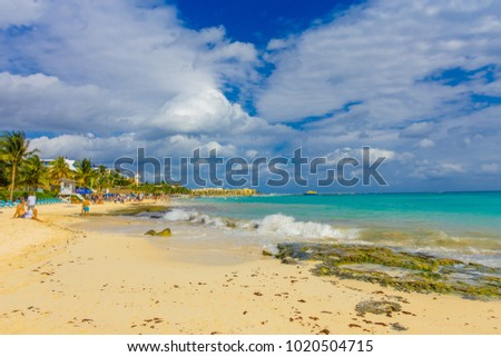 Playa del Carmen, Mexico - January 10, 2018: A typical Caribbean resort at Playa Del Carmen in Mexico