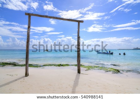 PLAYA DEL CARMEN, MEXICO - NOVEMBER 8, 2016: Playa del Carmen boat owners operate sport fishing and scuba tours at this popular tourist destination of the Mexican Riviera.