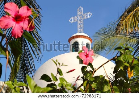Playa del Carmen white Mexican church arches belfry Mayan Riviera - stock photo
