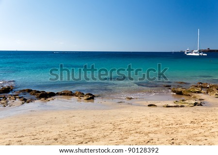Playa Papagayo Beach,Lanzarote,Spain - stock photo