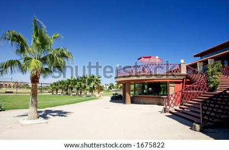 Playa Serena golf clubhouse near Roquetas on the Costa del Almeria in Spain on a bright sunny day.