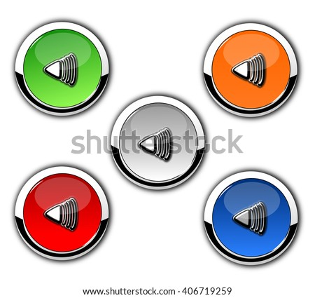 Player button icons isolated on white background. - stock photo