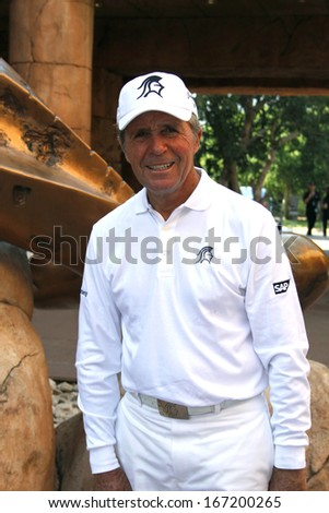 PLAYER, GARY - NOVEMBER 17: Professional Golfer Presenting and Playing at Gary Player Charity Invitational Golf Tournament  posing for picture on November  17, 2013, Sun City, South Africa.  - stock photo