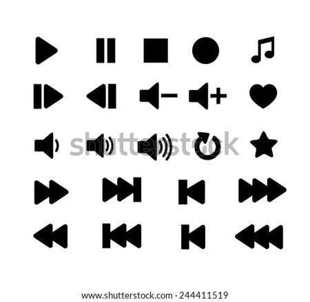 Player icon set - stock photo