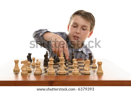 Player moves a chess piece on the game board.