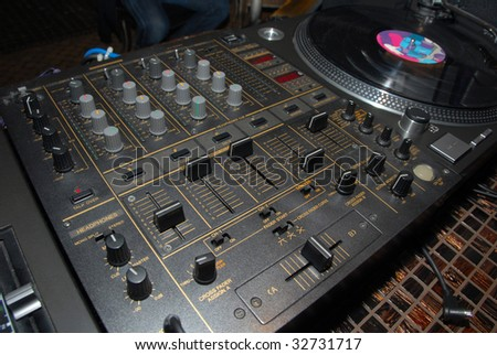 player through which the DJ plays his music - stock photo