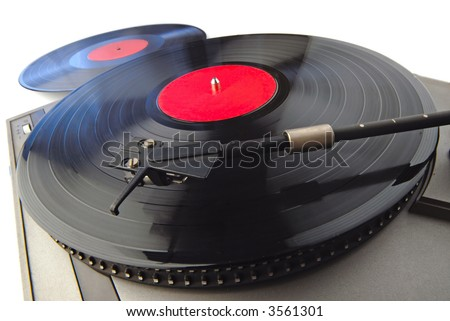 player with vinyl disks on  white background