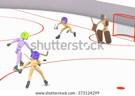 players stick handler puck puppet men play on ice the attacker attacks gates with the goalkeeper and two defenders illustration 3D background on a cutout - stock photo