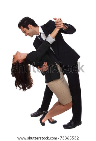 Playfuk business people at the workplace laughing - stock photo