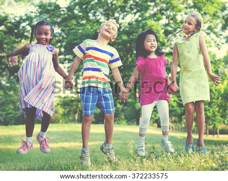 Playful Children Kids Happiness Concept - stock photo