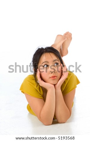 Playful Chinese woman Lying On the floor