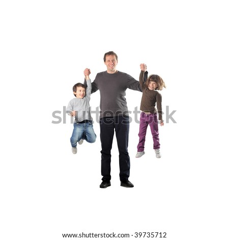 playful father with two children having fun - stock photo