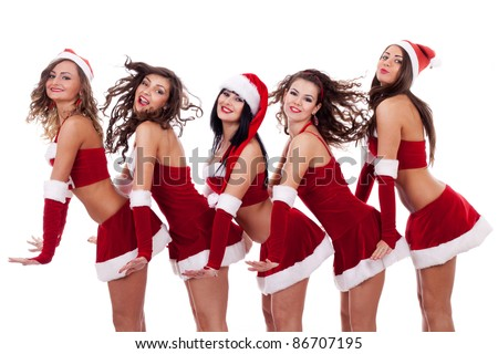 playful group of young santa women on white background